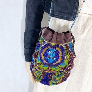 Moyna Beaded Boho Glam Drawstring Crossbody